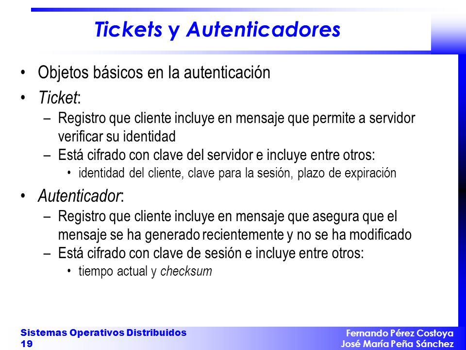 Tickets y Autenticadores
