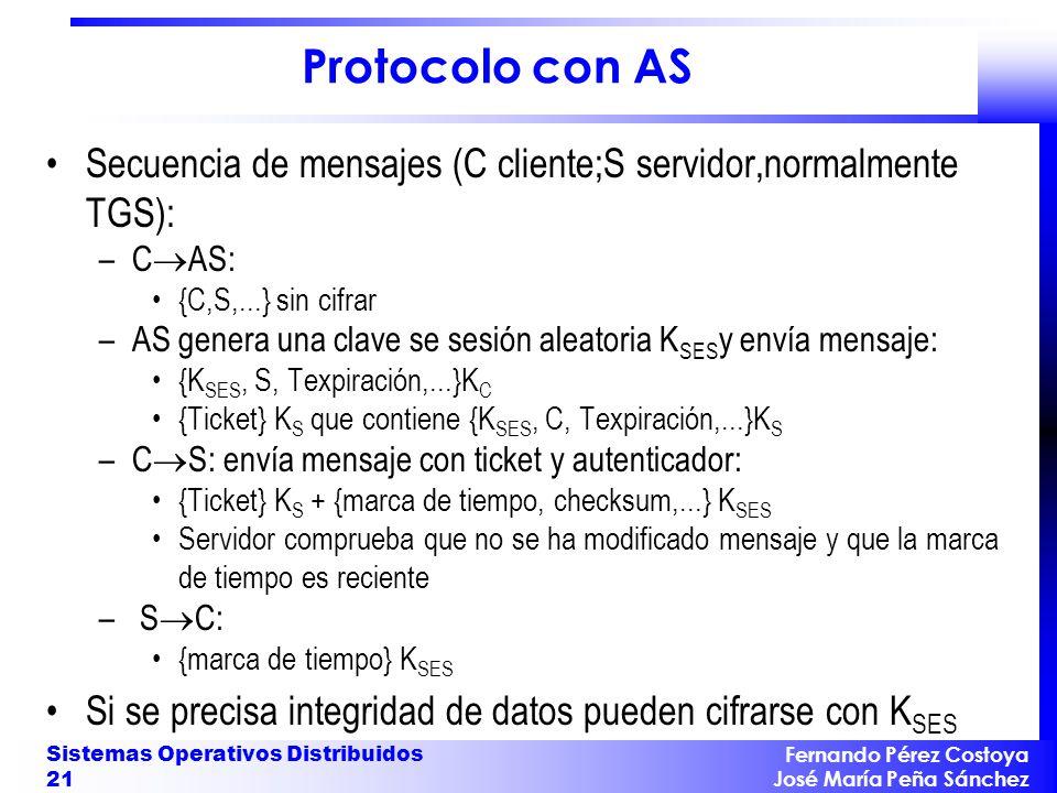 Protocolo con AS Secuencia de mensajes (C cliente;S servidor,normalmente TGS): CAS: {C,S,...} sin cifrar.