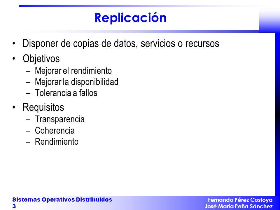 Replicación Disponer de copias de datos, servicios o recursos