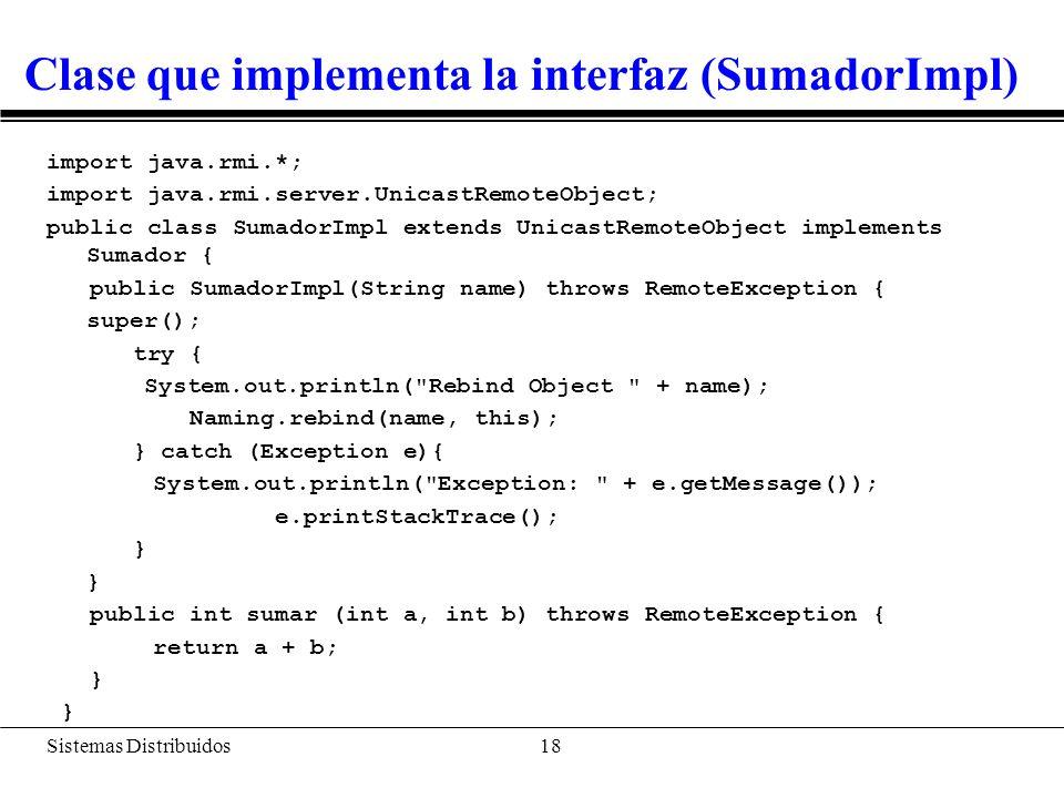 Código del servidor (SumadorServer)