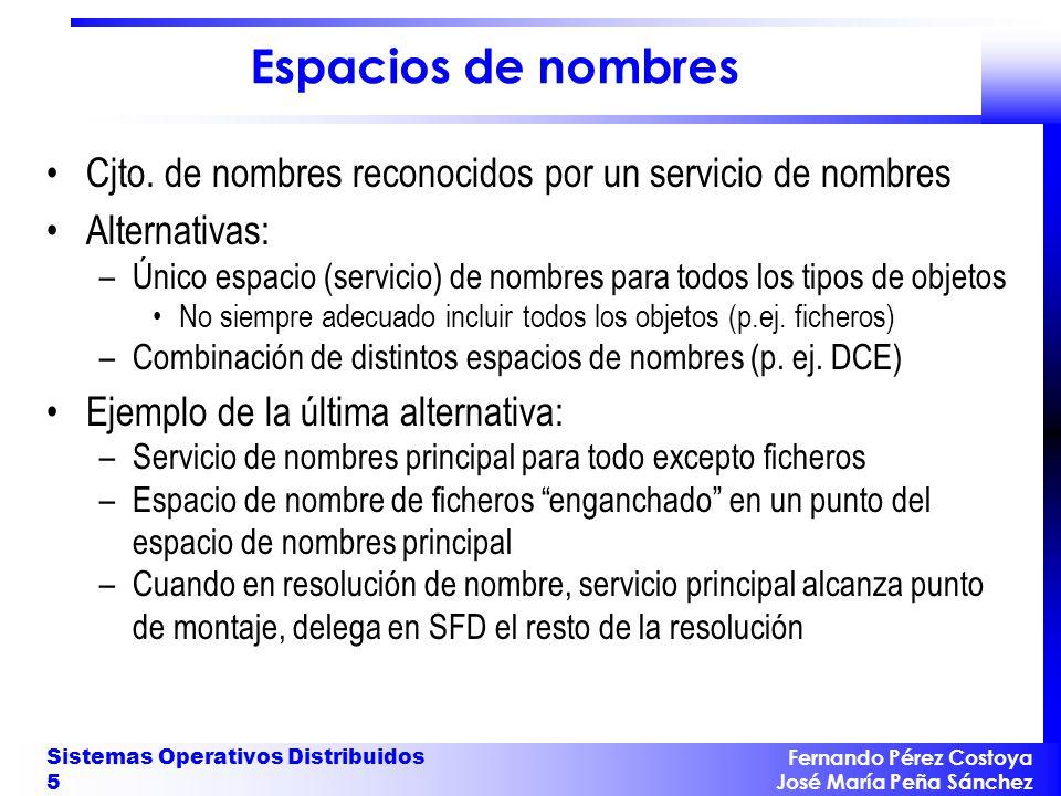 Espacios de nombres Cjto. de nombres reconocidos por un servicio de nombres. Alternativas: