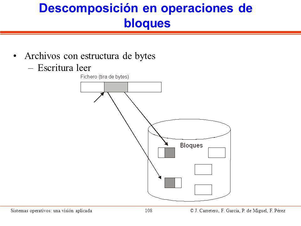 Descomposición en operaciones de bloques (II)