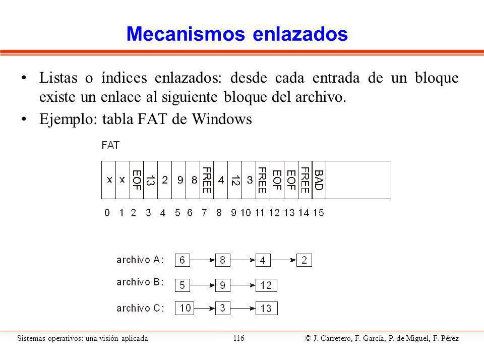 Mecanismos indexados Cada archivo tiene sus bloques de índice que incluyen apuntadores a los bloques de disco del archivo.