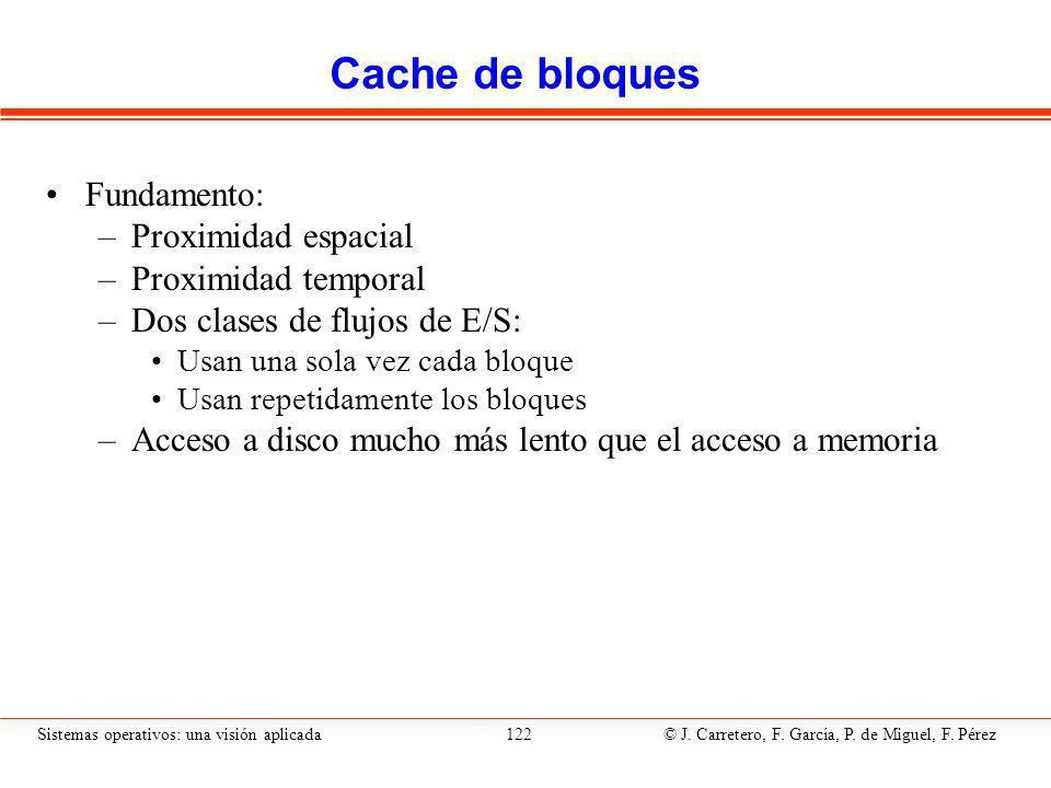 Cache de bloques (II) Estructura de datos en memoria con los bloques más frecuentemente utilizados.