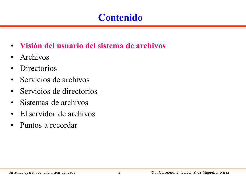 Visión del usuario Visión lógica: Archivos Directorios