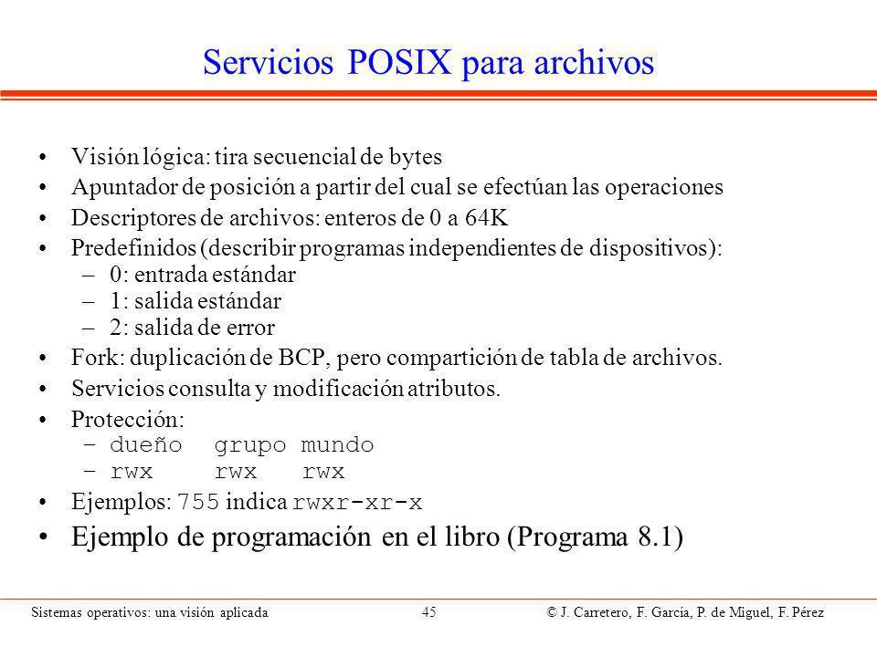 Archivos, directorios y servicios en POSIX (UNIX)