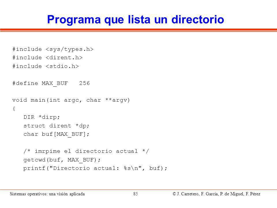 Programa que lista un directorio (II)