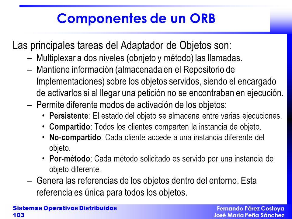 Componentes de un ORB Las principales tareas del Adaptador de Objetos son: Multiplexar a dos niveles (obnjeto y método) las llamadas.