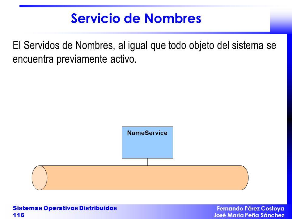 Servicio de Nombres El Servidos de Nombres, al igual que todo objeto del sistema se encuentra previamente activo.