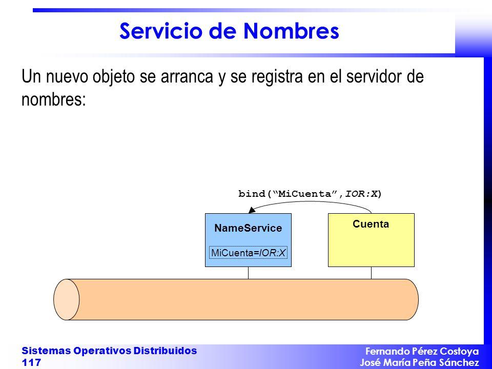 Servicio de Nombres Un nuevo objeto se arranca y se registra en el servidor de nombres: bind( MiCuenta ,IOR:X)
