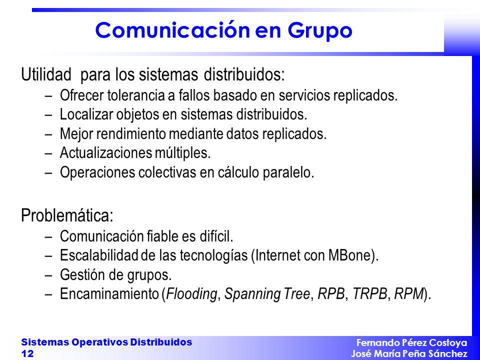 Comunicación en Grupo Utilidad para los sistemas distribuidos: