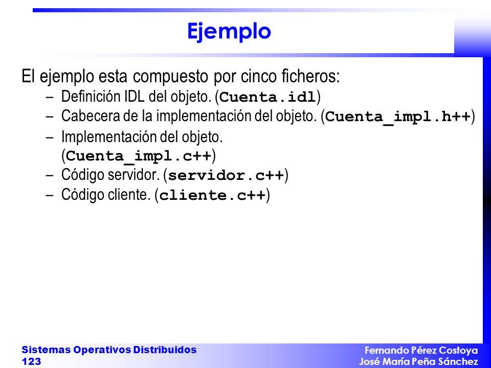 Ejemplo El ejemplo esta compuesto por cinco ficheros: