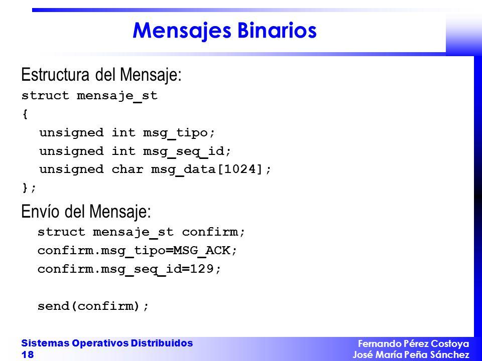Mensajes Binarios Estructura del Mensaje: Envío del Mensaje: