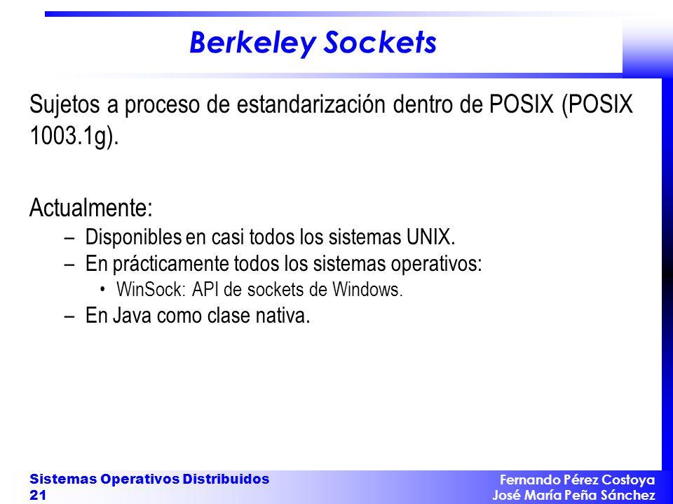 Berkeley Sockets Sujetos a proceso de estandarización dentro de POSIX (POSIX 1003.1g). Actualmente: