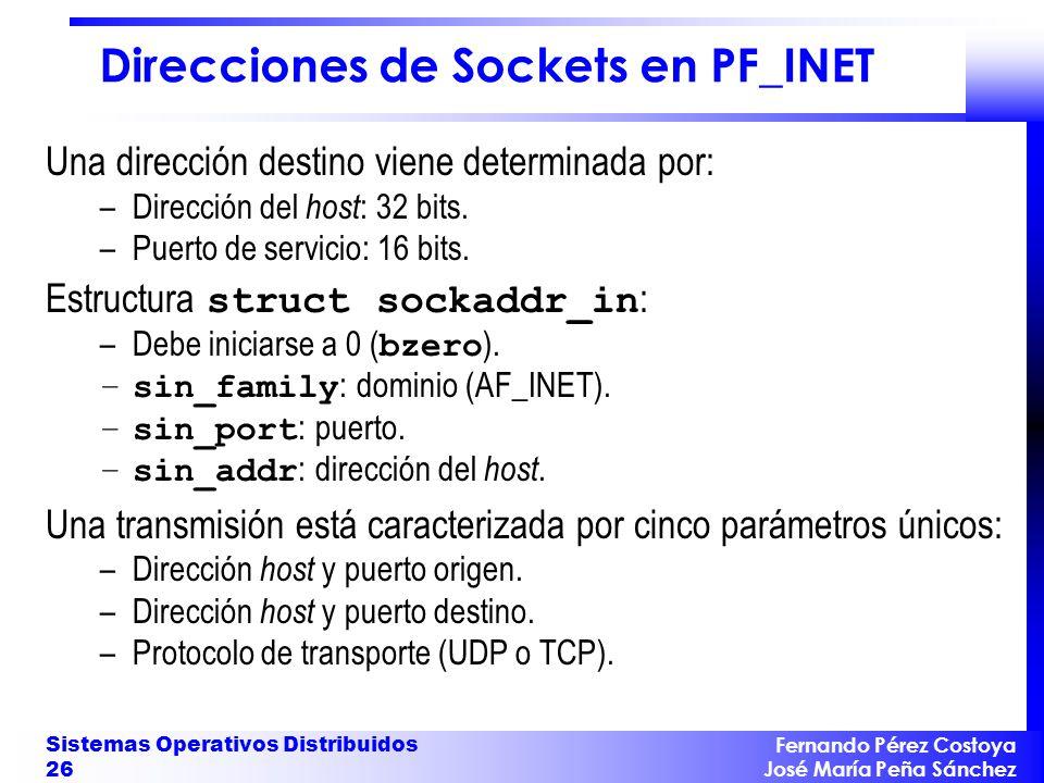 Direcciones de Sockets en PF_INET