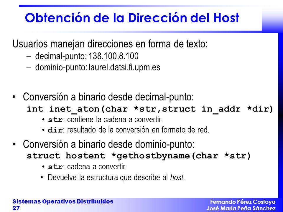 Obtención de la Dirección del Host