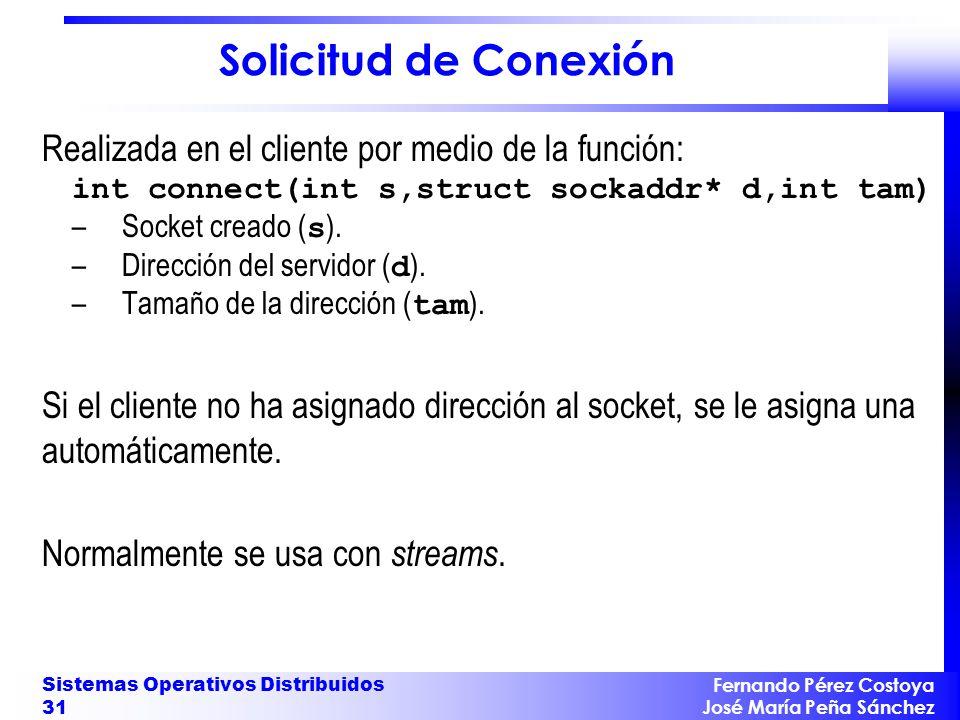Solicitud de Conexión Realizada en el cliente por medio de la función: