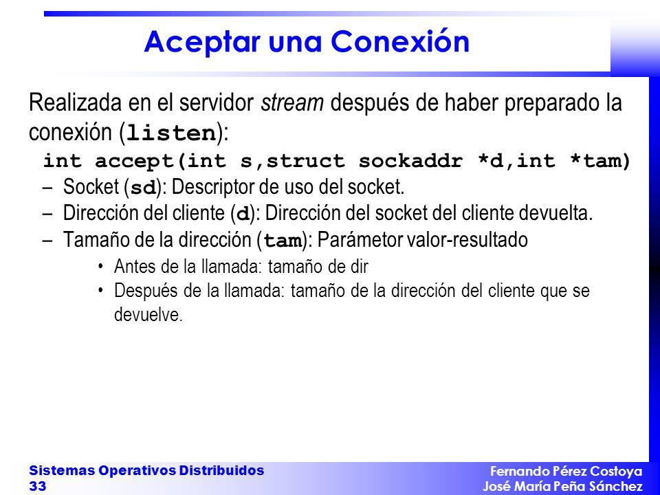 Aceptar una Conexión Realizada en el servidor stream después de haber preparado la conexión (listen):