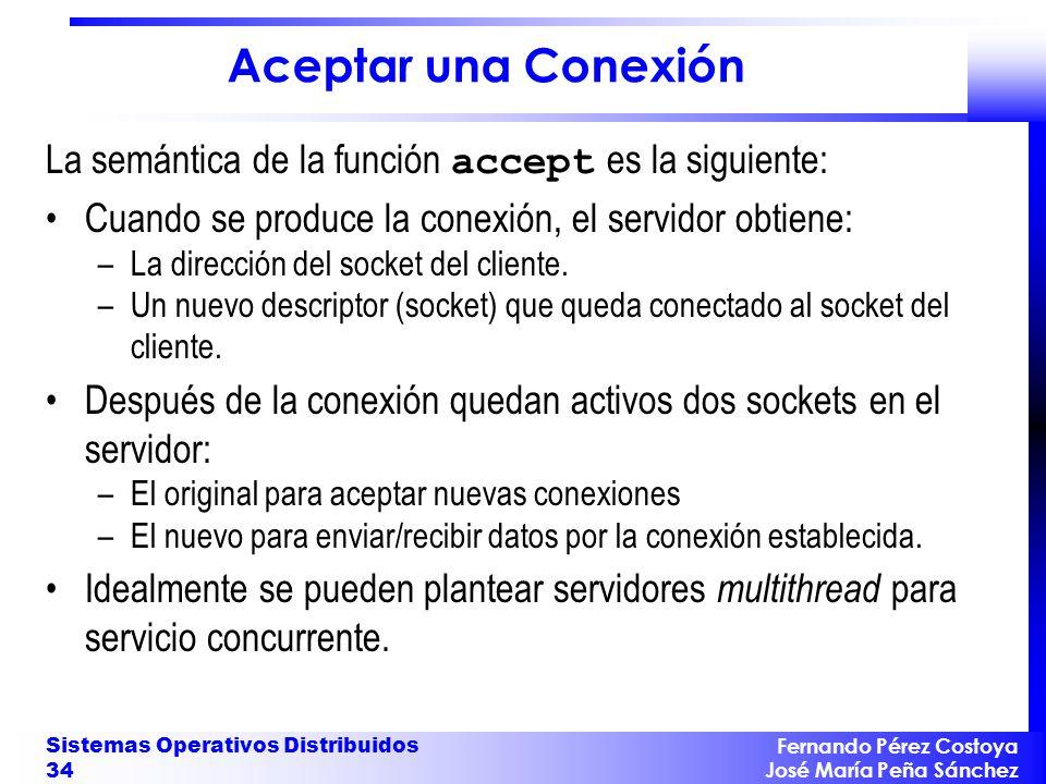 Aceptar una Conexión La semántica de la función accept es la siguiente: Cuando se produce la conexión, el servidor obtiene: