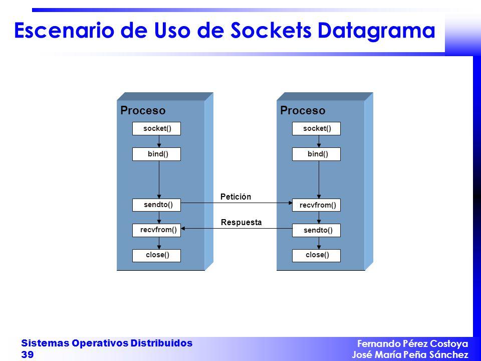 Escenario de Uso de Sockets Datagrama