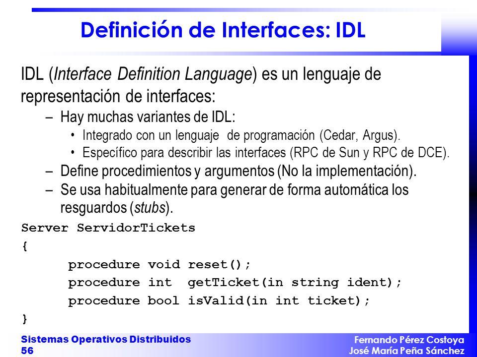 Definición de Interfaces: IDL