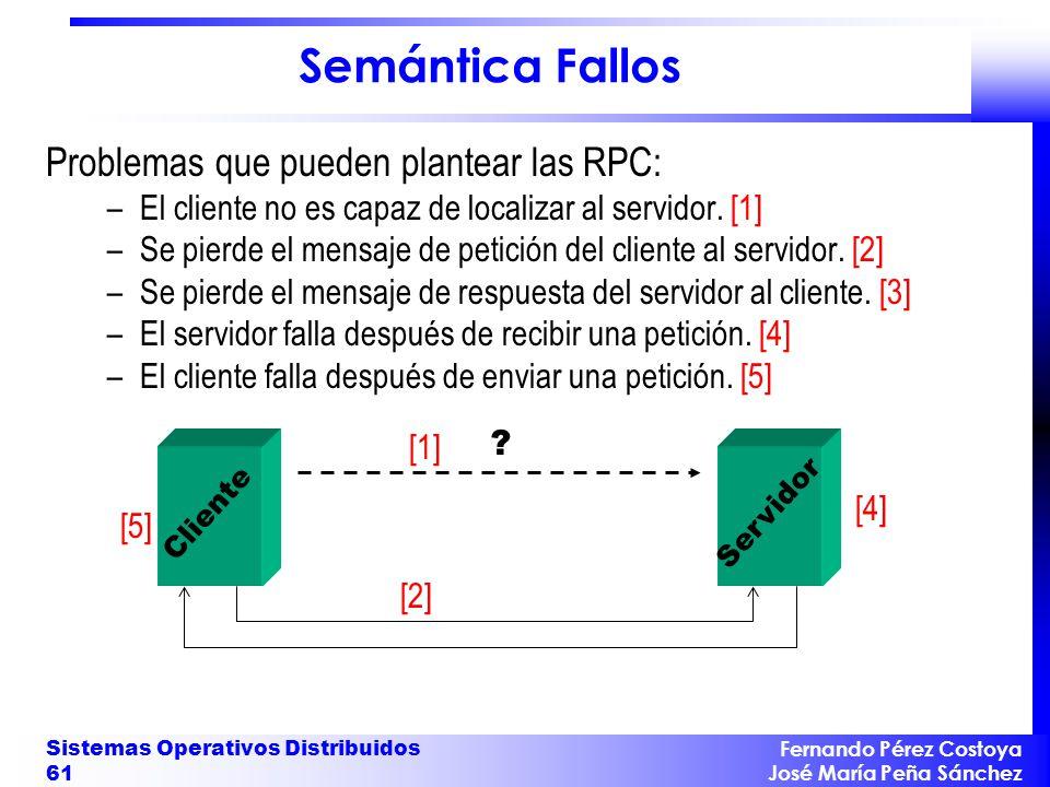Semántica Fallos Problemas que pueden plantear las RPC: