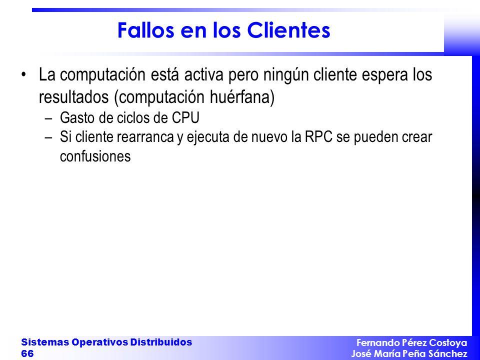 Fallos en los Clientes La computación está activa pero ningún cliente espera los resultados (computación huérfana)