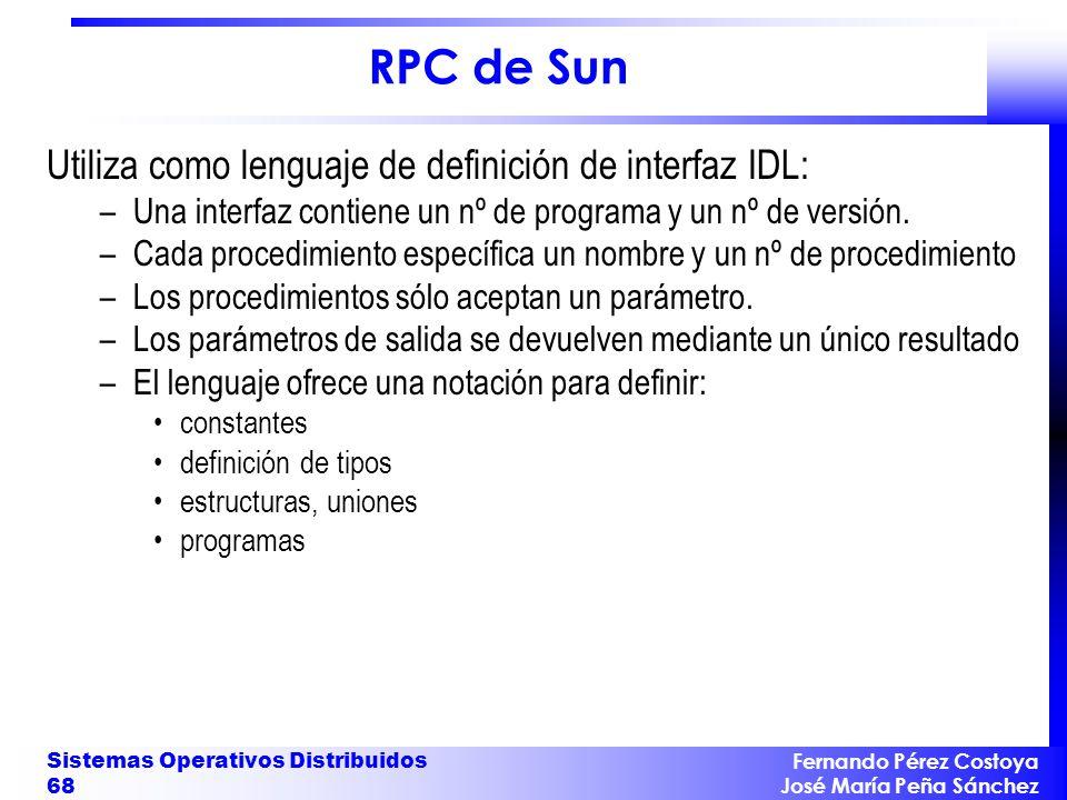 RPC de Sun Utiliza como lenguaje de definición de interfaz IDL: