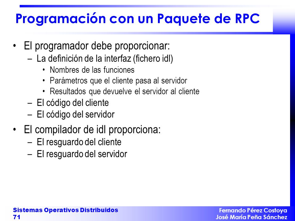 Programación con un Paquete de RPC