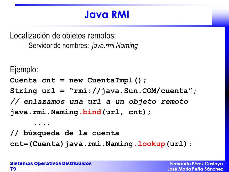 Java RMI Localización de objetos remotos: Ejemplo: