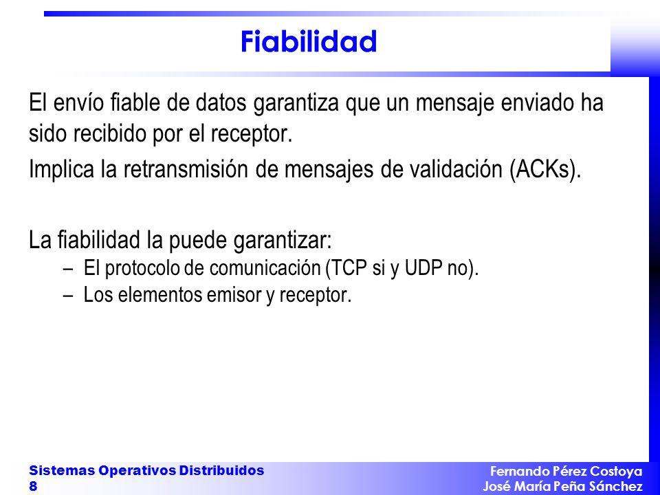 Fiabilidad El envío fiable de datos garantiza que un mensaje enviado ha sido recibido por el receptor.