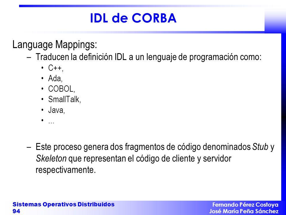 IDL de CORBA Language Mappings: