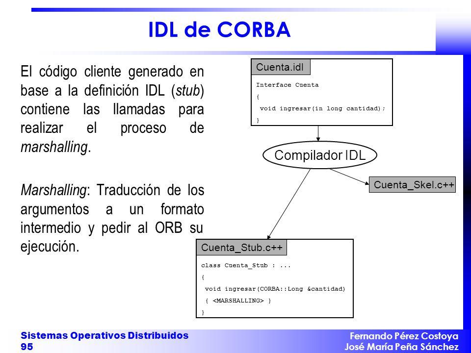 IDL de CORBA El código cliente generado en base a la definición IDL (stub) contiene las llamadas para realizar el proceso de marshalling.