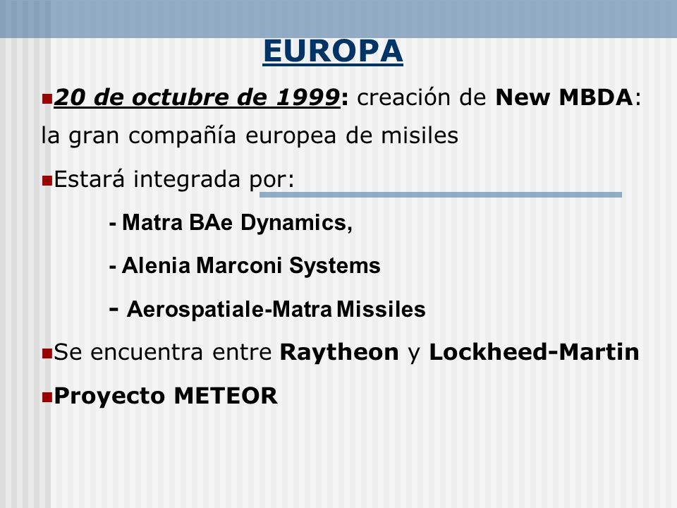 EUROPA 20 de octubre de 1999: creación de New MBDA: la gran compañía europea de misiles. Estará integrada por: