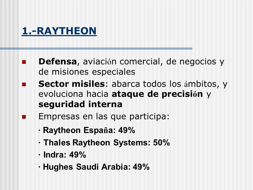 1.-RAYTHEON · Raytheon España: 49%