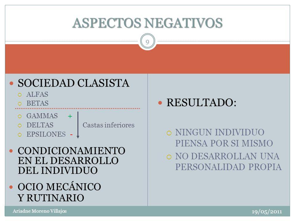ASPECTOS NEGATIVOS SOCIEDAD CLASISTA RESULTADO: