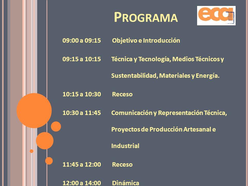 Programa 09:00 a 09:15 Objetivo e Introducción