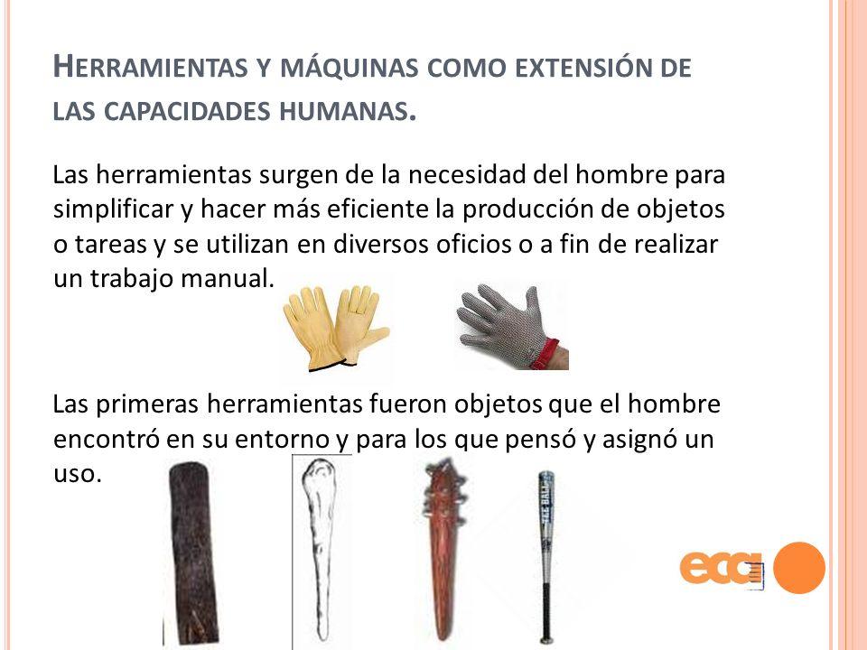 Herramientas y máquinas como extensión de las capacidades humanas.