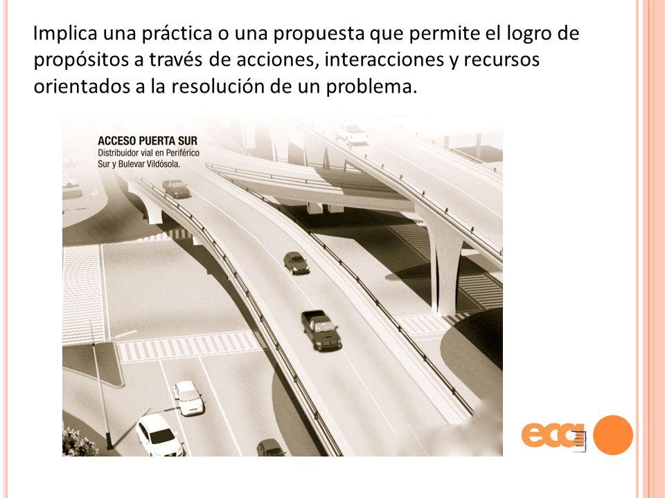 Implica una práctica o una propuesta que permite el logro de propósitos a través de acciones, interacciones y recursos orientados a la resolución de un problema.