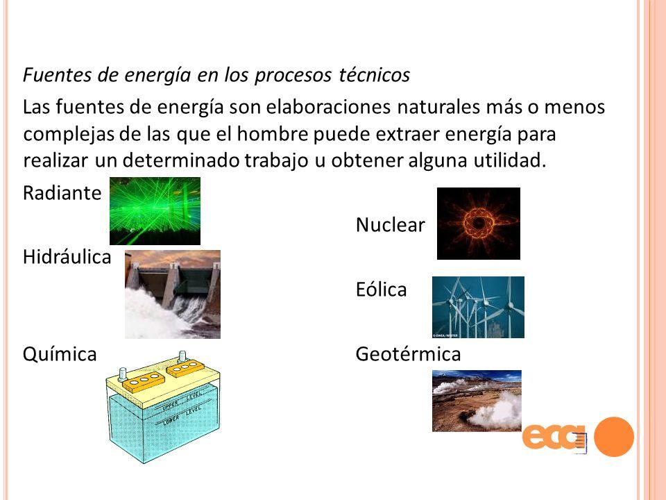 Fuentes de energía en los procesos técnicos Las fuentes de energía son elaboraciones naturales más o menos complejas de las que el hombre puede extraer energía para realizar un determinado trabajo u obtener alguna utilidad.