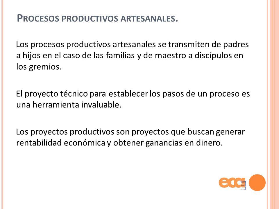 Procesos productivos artesanales.