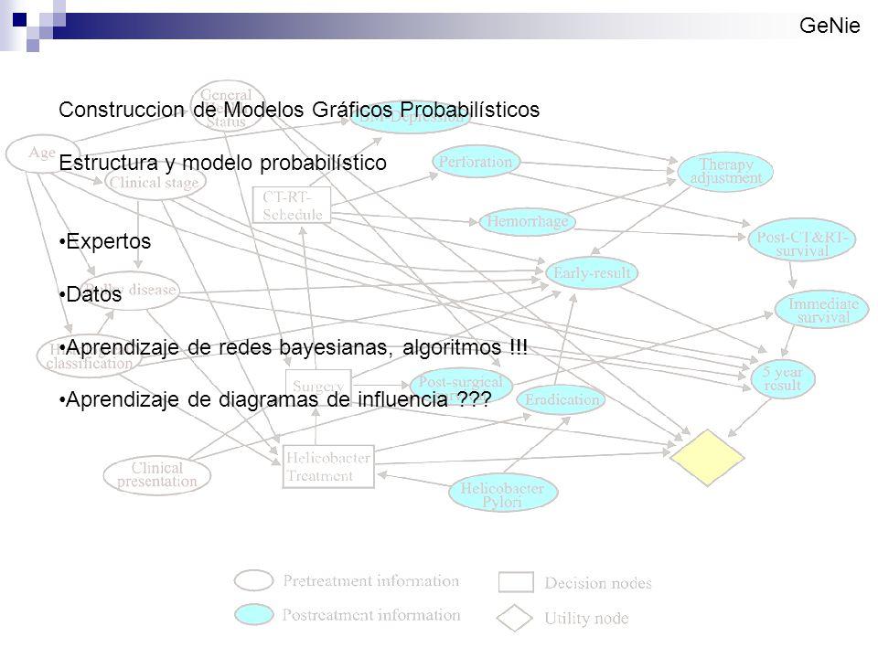 GeNie Construccion de Modelos Gráficos Probabilísticos. Estructura y modelo probabilístico. Expertos.
