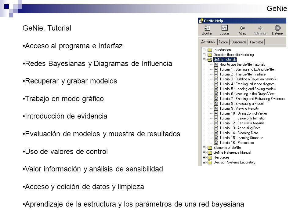 GeNie GeNie, Tutorial. Acceso al programa e Interfaz. Redes Bayesianas y Diagramas de Influencia.