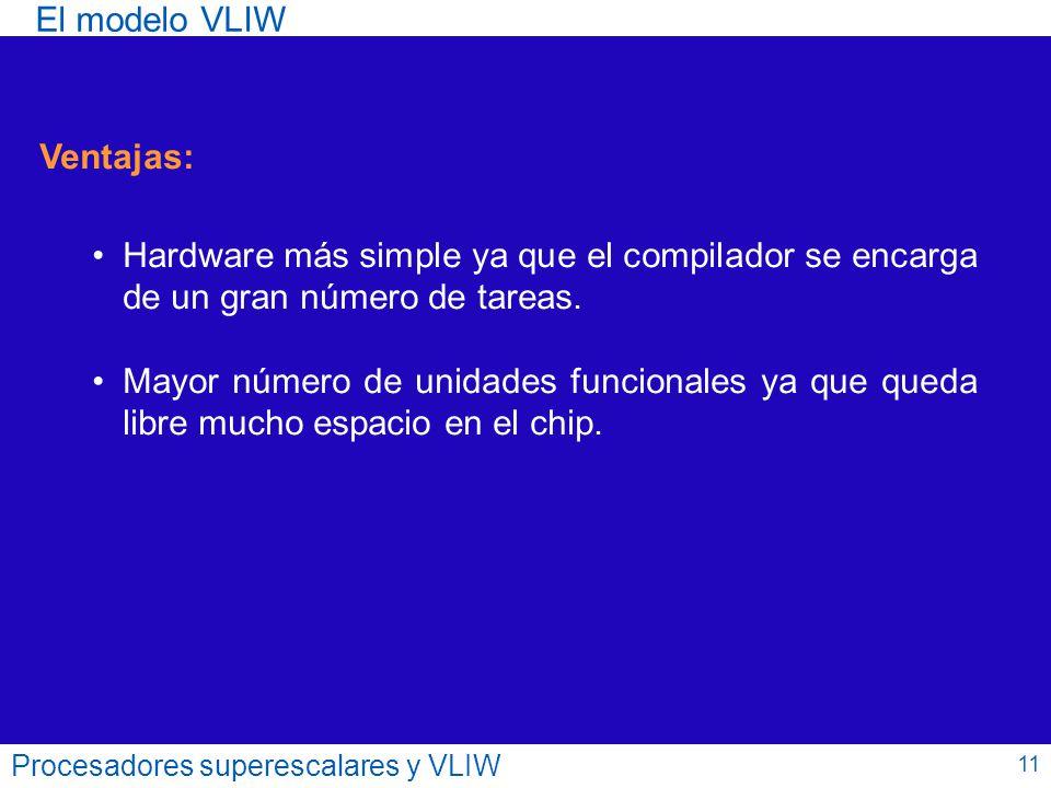 El modelo VLIW Ventajas: