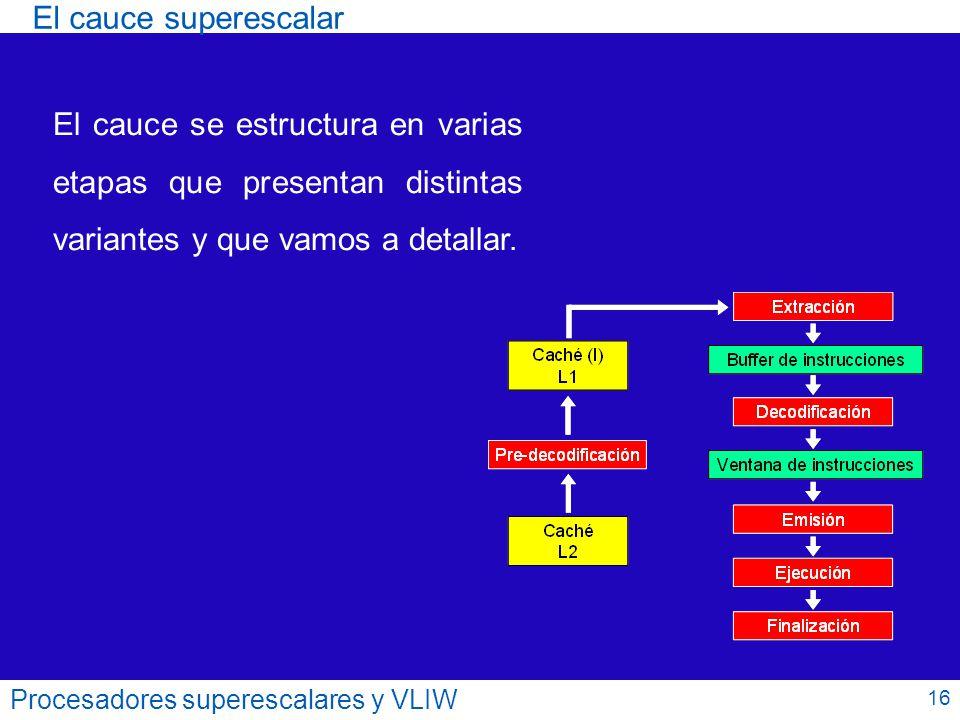 El cauce superescalar El cauce se estructura en varias etapas que presentan distintas variantes y que vamos a detallar.