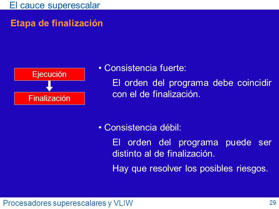 El orden del programa debe coincidir con el de finalización.