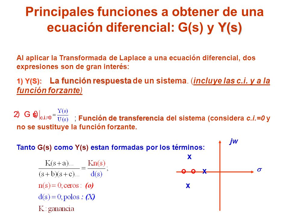 Principales funciones a obtener de una ecuación diferencial: G(s) y Y(s)