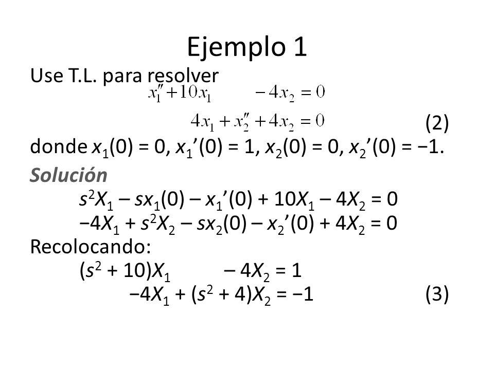 Ejemplo 1 Use T.L. para resolver (2) donde x1(0) = 0, x1'(0) = 1, x2(0) = 0, x2'(0) = −1.