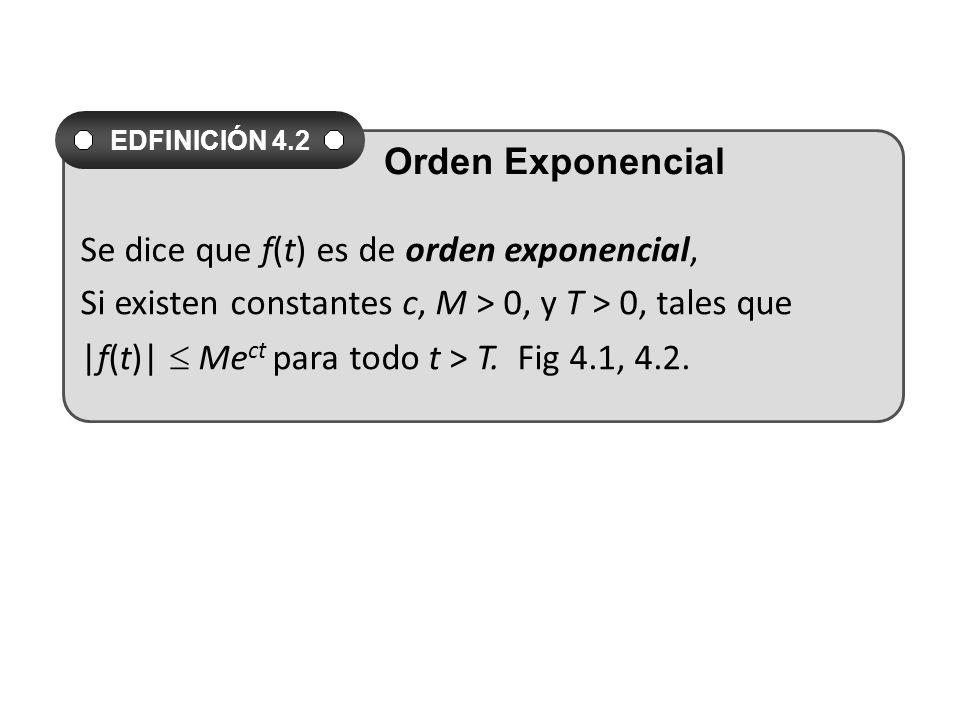Se dice que f(t) es de orden exponencial,