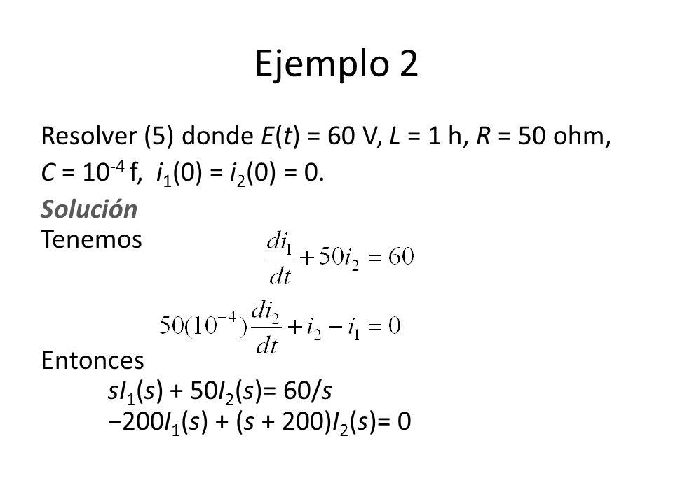 Ejemplo 2 Resolver (5) donde E(t) = 60 V, L = 1 h, R = 50 ohm,